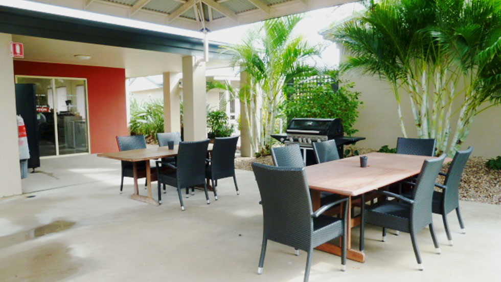 Guests are welcome to relax in our garden BBQ area - motel accommodation Bowen